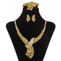 YIWU CZ Italiano Damas Cristal de Diseño a Largo Collar de La Joyería de Dubai Oro de La Manera de Novia de la Boda Accesorios Envío Gratis