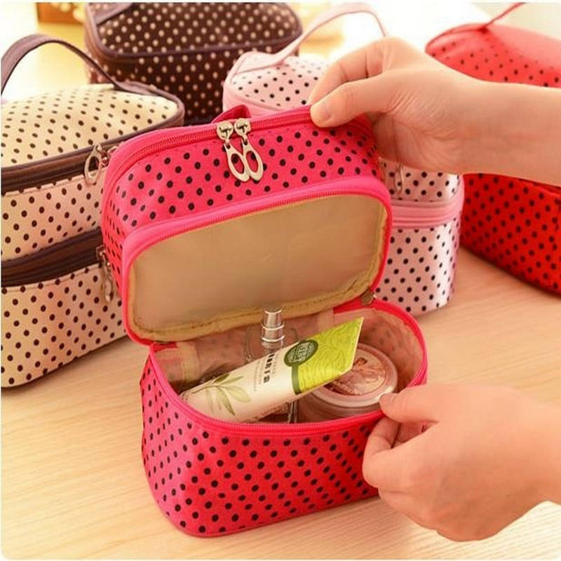 Image 3 - Multifunctional make up cosmetic bag travel organizer Zipper Bags Portable Double layer Dots Makeup Storage Case Toiletry Bags-in Storage Boxes & Bins from Home & Garden