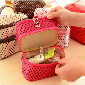 Image 3 - Multifunctional make up cosmetic bag travel organizer Zipper Bags Portable Double layer Dots Makeup Storage Case Toiletry Bags