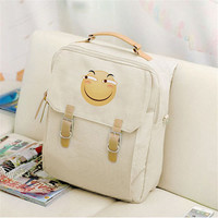 2017 Canvas Preppy Style Backpack Creative Cute Emoji Funny Face Women Mochila Backpacks Student School Bags
