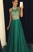 2017 Chiffon A Line Prom Dresses Halter neckline with Beaded and Crystal bodice and Chiffon skirt GA046 Prom Dresses