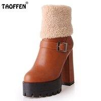 נשים מגפי הוכחת מים חצי אתחול קצר כותנה חורף נעלי קטיפה שלג Botas עקבים כיכר האופנה הנעלה גודל 31-43