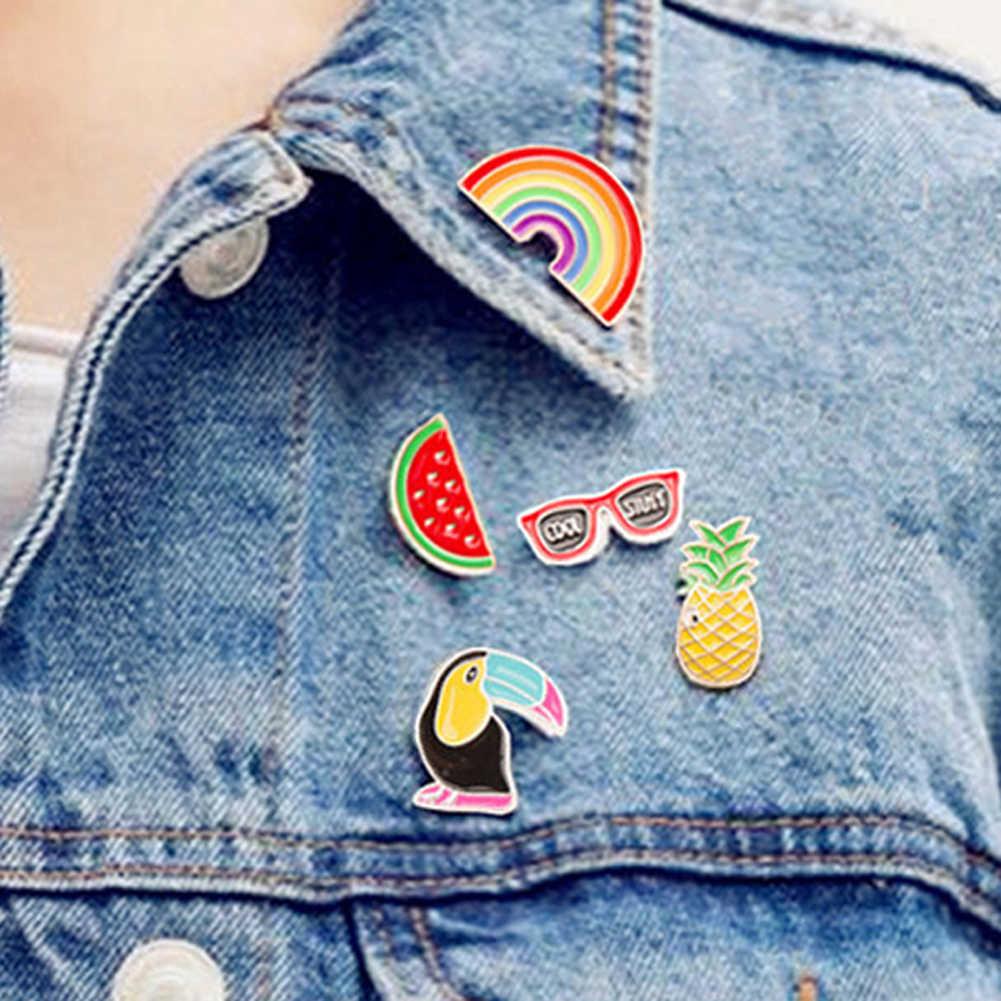2018 Baru Fashion Gaya Kemeja Kerah Bros Lucu Buah Mungil Kartun Buah Pin Bros Kecil Mini Tombol Bros untuk Wanita hadiah