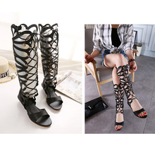 Luxury Brand Designer Knee High Gladiator Sandals Boots Cutouts Lace up Wedges Gladiator Sandals Women Summer Shoes XWF0512-5