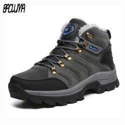 Designer Super Warm Men Winter Boots Quality Suede Snow Boots Fur Plush Winter Snow Shoes  High Top Outdoor Boots Shoe Plus Size