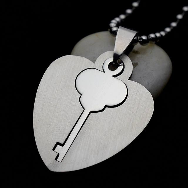 Silver Tone Stainless Steel Heart Key Symbol Of Love Charm Pendant