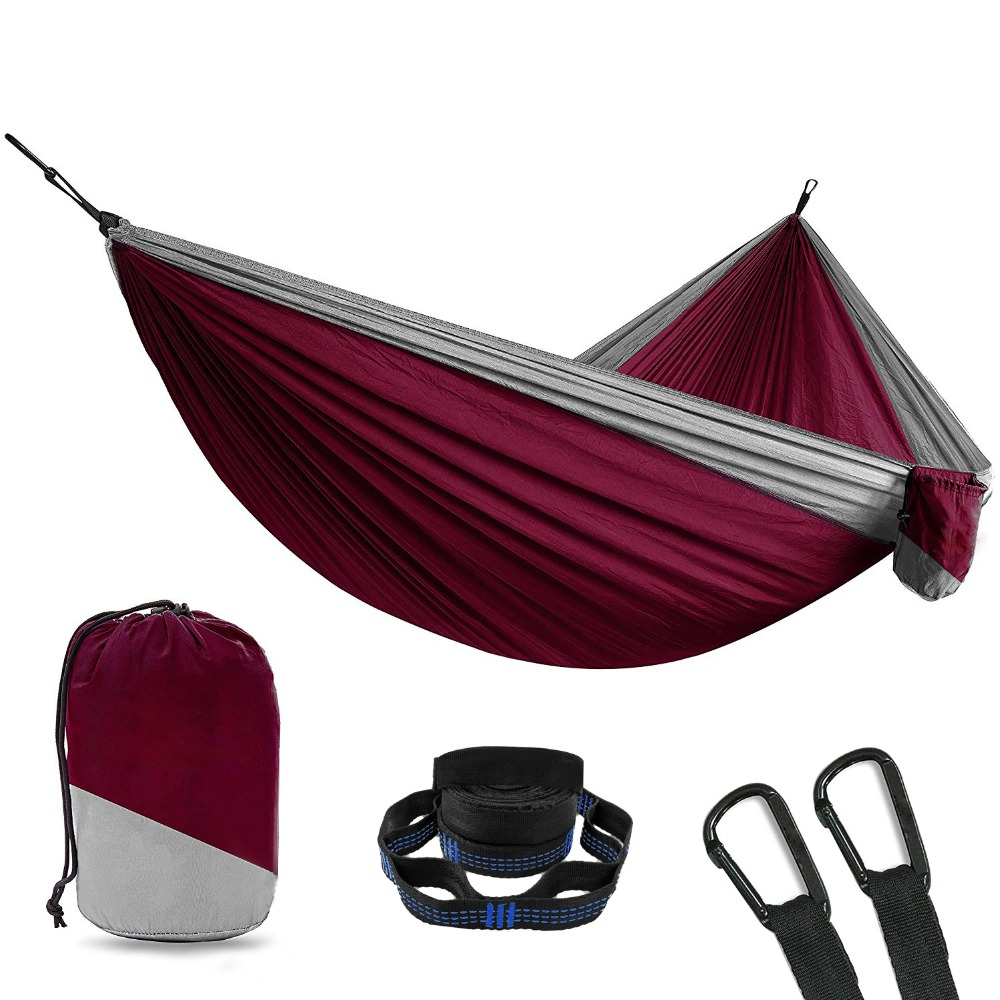 2 Person Double Camping Hammock With 2pcs Tree Straps XL 10 Foot Nylon Portable Heavy Duty Holds 700lb For Sitting Hanging Sale
