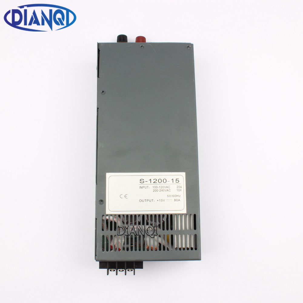 DIANQI 1200W 15V 80A Switching power supply for LED Strip light AC to DC power suply