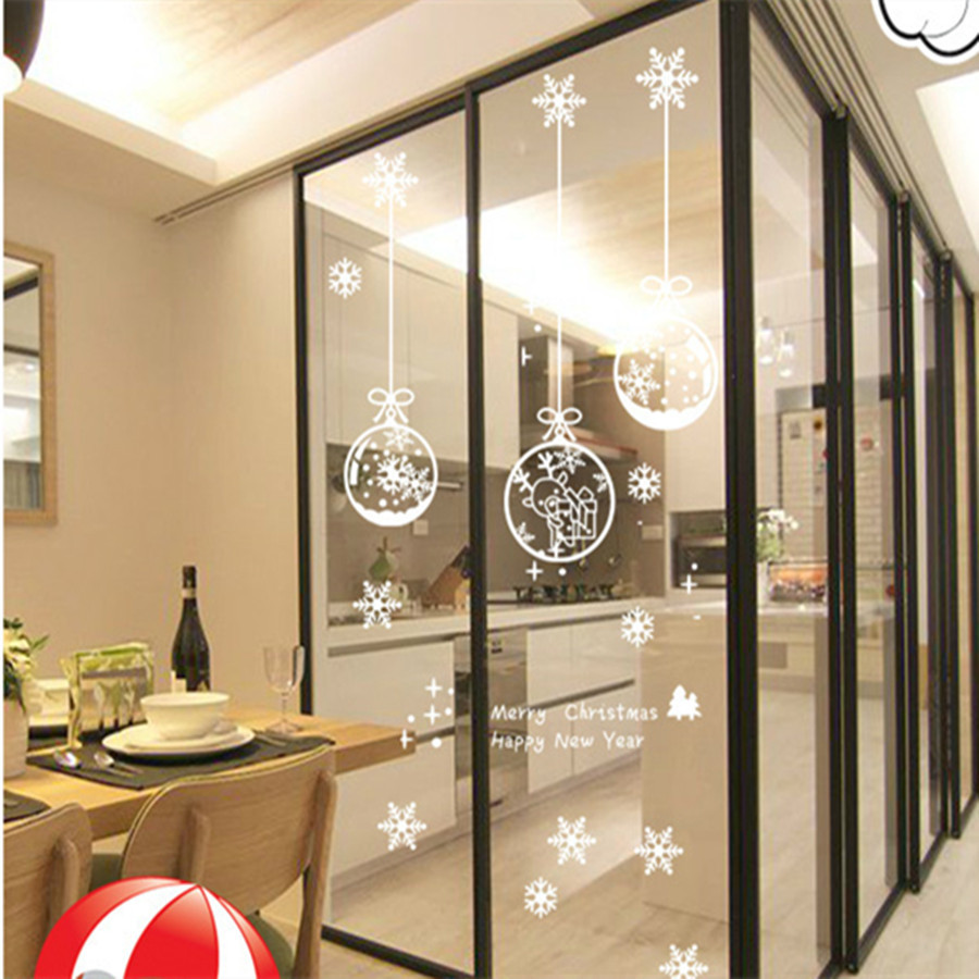 christmas decoration electrostatic film window sticker white snowflakes ball glass wall sticker. Black Bedroom Furniture Sets. Home Design Ideas