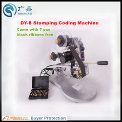 Free Shipping Hot Code Printer Dy-8 (Manual) expiry date coding printer usage on labels paper and bags with 7 pcs black ribbon