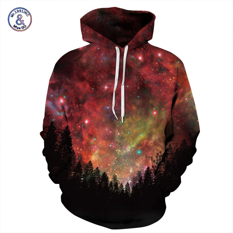 Mr.1991INC Brand Sweatshirts Men/Women Forest Red Starry Sky 3d Hoodies Funny Print Hooded Sweatshirts Pullover Sudaderas