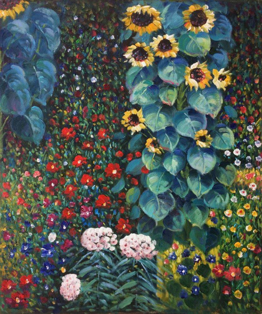 High quality Oil painting Canvas Reproductions Farm Garden with Sunflowers by Gustav Klimt Painting hand paintedHigh quality Oil painting Canvas Reproductions Farm Garden with Sunflowers by Gustav Klimt Painting hand painted
