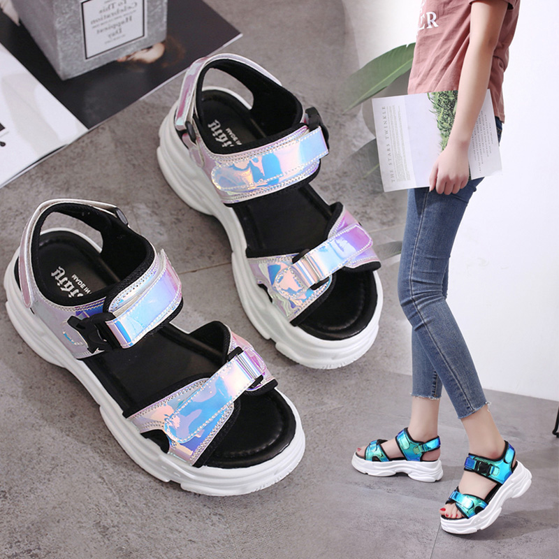 Sexy Open-toed Women Sport Sandals Wedge Hollow Out Women Sandals Outdoor Cool Platform Shoes Women Beach Summer Shoes 2colors