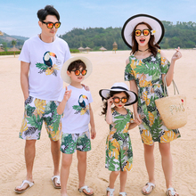 Mother Daughter Floral Beach Dress Father Son Short Print T-shirt and Shorts Sports Set Family Matching Outfit Cotton New
