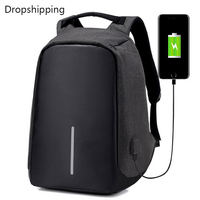 Drop Shipping USB Fashion Men Women Backpack
