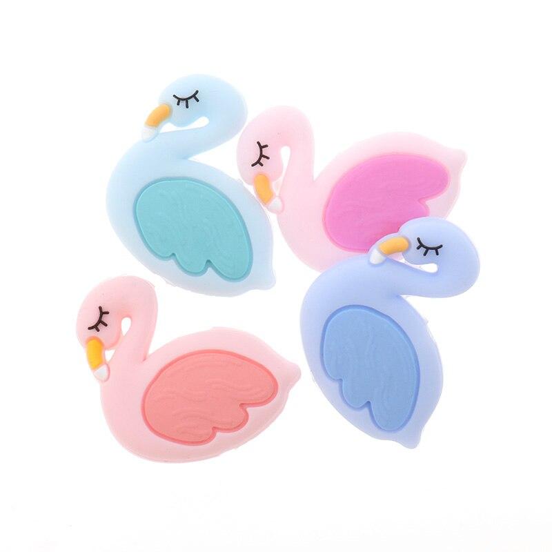 Fkisbox 5PCS Flamingo Silicone Beads Teething Teether Newborn Baby Food Grade Bpa Free Silicone Teethers Cuentas Silicona Perle