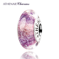 ATHENAIE Genuine Murano Glass 925 Silver Core Purple Fluorescent Charms Bead Fit All European Bracelets Gift