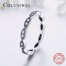 Colusiwei New Sale Genuine 925 Sterling Silver Leaves Stackable Ring Clear Cubic Zirconia Compatible with Original Jewelry