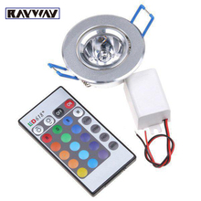 RAYWAY AC85V-265V 3W RGB LED Ceiling Down Light with Remote Control Party Bars Indoor RGB Decorate Lighting Recessed downlight