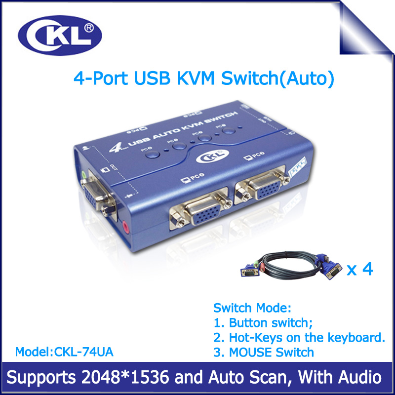 4 VGA USB Cables for PC Computer Monitor//Keyboard 4 Port USB KVM Switch Box