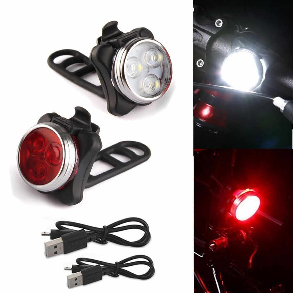 Luminoso Della Bicicletta Della Bici 3 LED Testa Anteriore luce 4 modalità USB Ricaricabile Clip di Coda Della Lampada Della Luce Impermeabile fietsverlichting #20