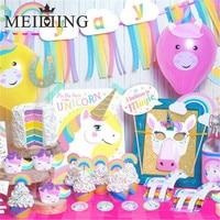 MEIDDING 1set Rainbow Unicorn Theme Party Banner Garland Unicorn Mask Cake Topper Photo Props Baby Shower