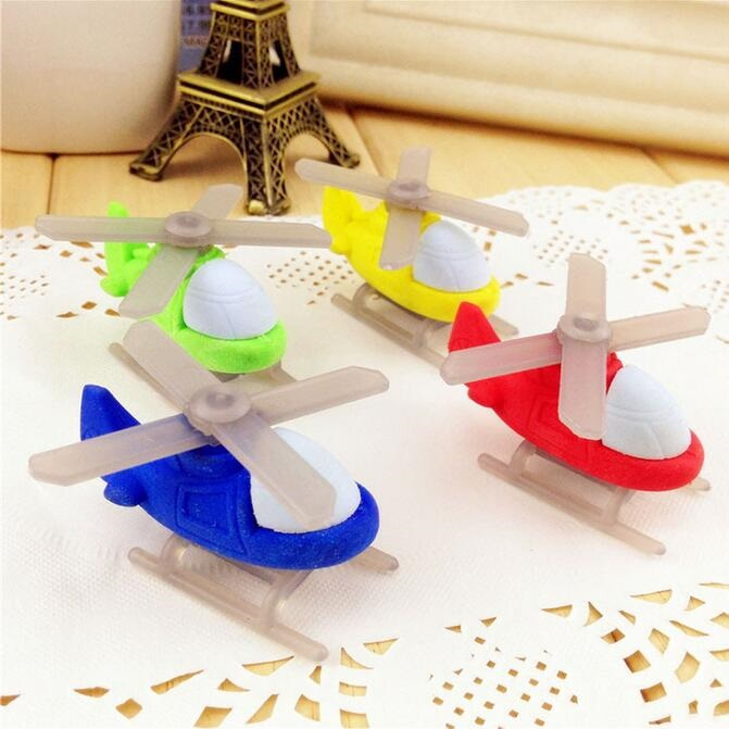 4pcs/lot Model Plane Helicopter Design Non-toxic Eraser Students' Gift Prize Children's Educational Toys Office School Supplies