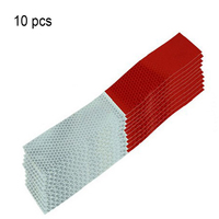 10PCS Universal Reflective Car Stickers Warning Strip Reflective Truck Auto supplies Night Driving Safety Secure Red White #LM40