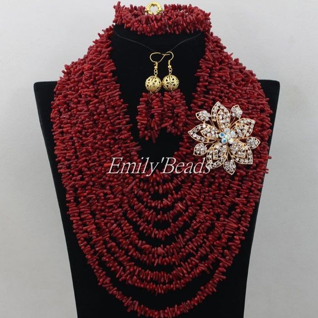 2015 Amazing Red Natural Coral Beads Jewelry Sets African Nigerian Wedding Bridal Beads Necklaces Set Free Shipping CJ444
