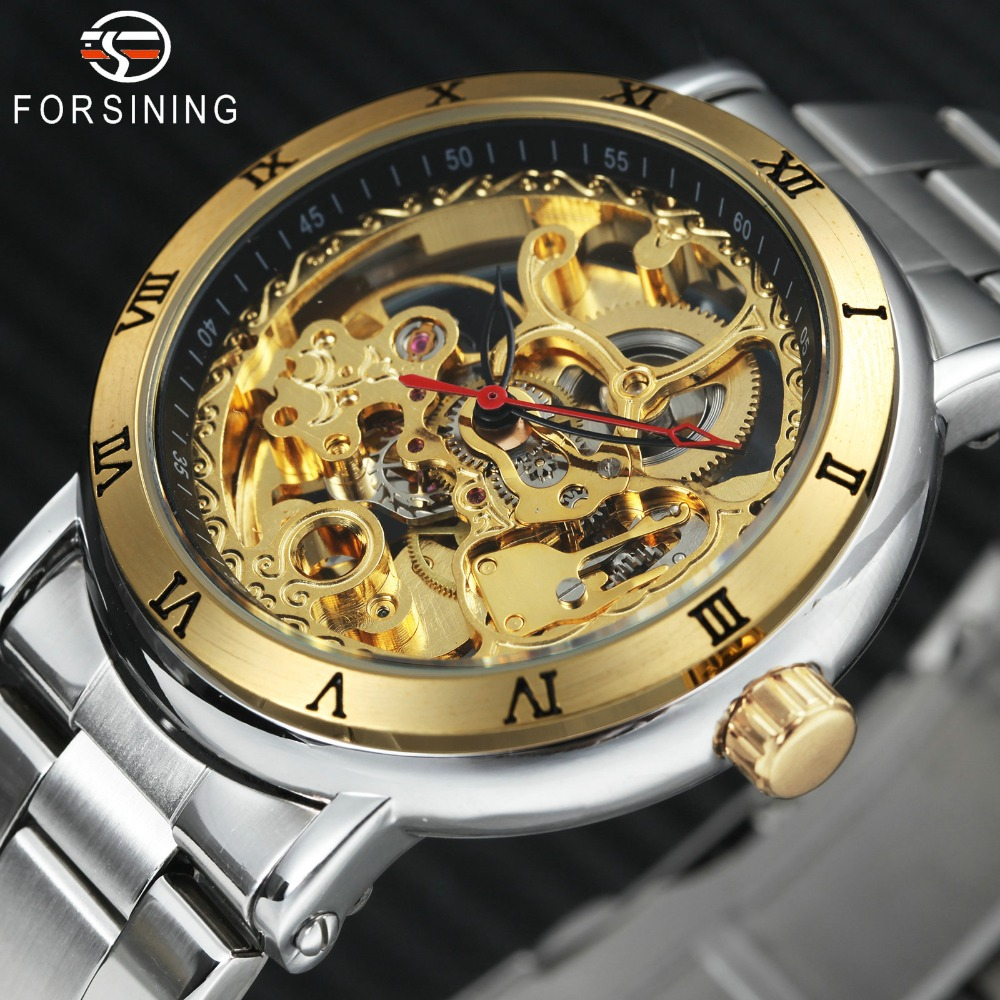 FORSINING 2018 Mens Watches Top Brand Luxury Carved Skeleton Golden Dial Dress Auto Mechanical Watch Men Stainless Steel Strap winner auto mechanical watches men golden bridge top brand luxury silver stainless steel strap skeleton watch relogios masculino