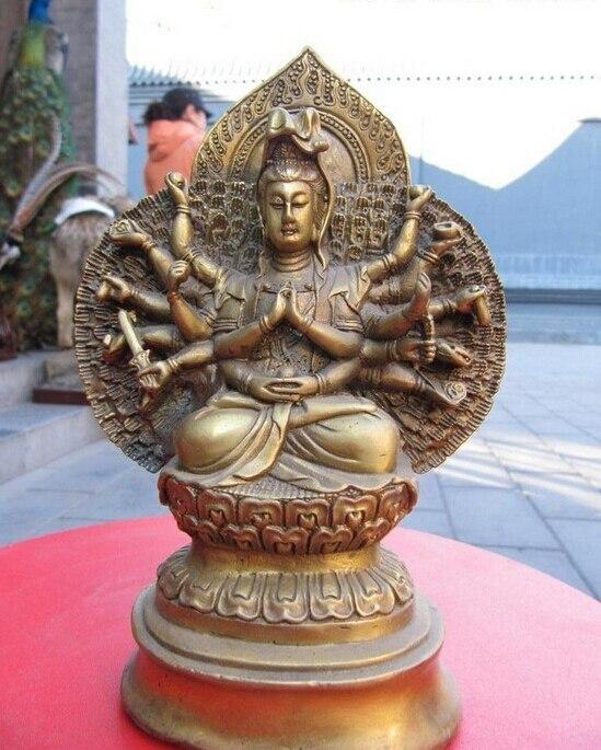 Free Shipping Tibet temple brass 1000 Arm hands Avalokitesvara Kwan Yin Guan Yin Buddha