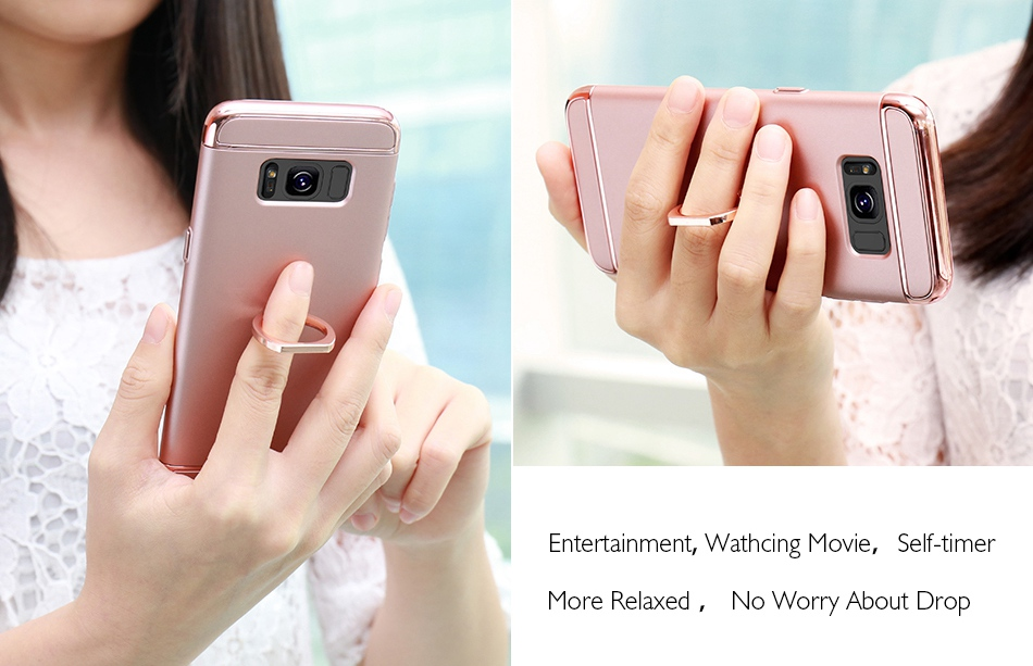 Ring Holder Cover For Samsung Galaxy S8 Plus S8 Case 3 in 1 Combo Armor Stand Phone Bag Cases  (13)