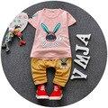 Bebé arropa 2016 verano estilo de los bebés ropa del bebé del algodón de juegos ( camisetas + Shorts ) 2 unids ropa de bebé