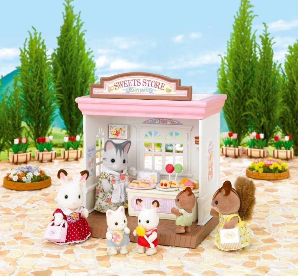 New Arrival Genuine Sylvanian Families Sweets Store Dessert Candy Shop Dollhouse Furniture Accessories Kids Pretend Toy