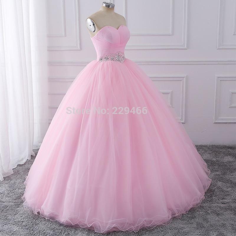 Wuzhiyi Quinceanera robes 2018 rose robe de bal vestidos de festa longo 15 anos doux 16 robe robes de Debutante robe pour la croissance - 2