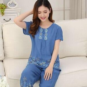 Image 3 - Pyjama dété pour femme, 4XL, ensemble mince, manches courtes, Ventilation pour la maison