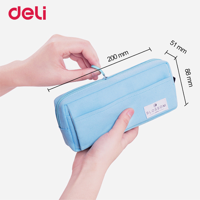 Deli candy color large multi pocket fabric zipper pencil case for school kid office organize supply pen bag box pouch stationery|fabric pencil case|multi pocket pencil case|pencil case for kids - title=