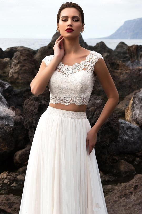 295c39a02c Aliexpress.com : Buy wuzhiyiTwo Pieces Tulle A Line Summer Beach Wedding  Dresses 2018 Bohemia Lace Top Floor Length Wedding Bridal Gowns With Buttons  from ...