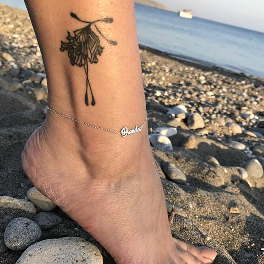 人格tobillerasゴールドカラーカスタム名足首女性ステンレス鋼足首のブレスレット裸足サンダルb