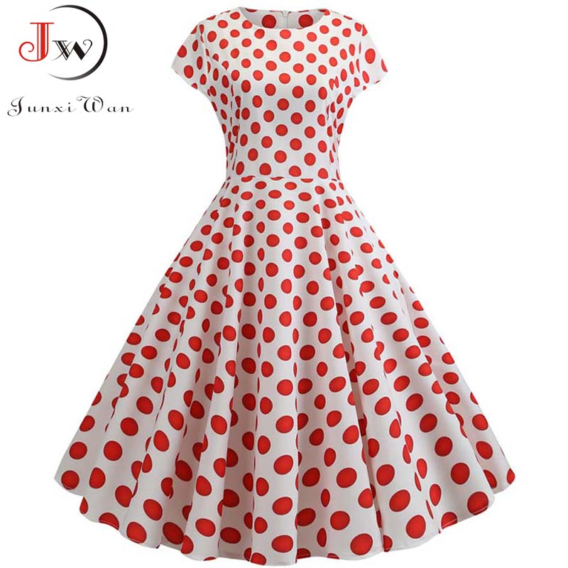 Summer Short Sleeve Polka Dot Dress Women Elegant Work Office Casual Print A-Line Vintage Dress Big Swing Rockabilly Vestidos 2