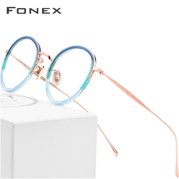 486e4a68da Puro B óptico titanio gafas de moda de las mujeres Vintage ronda anteojos  recetados hombres Retro miopía gafas