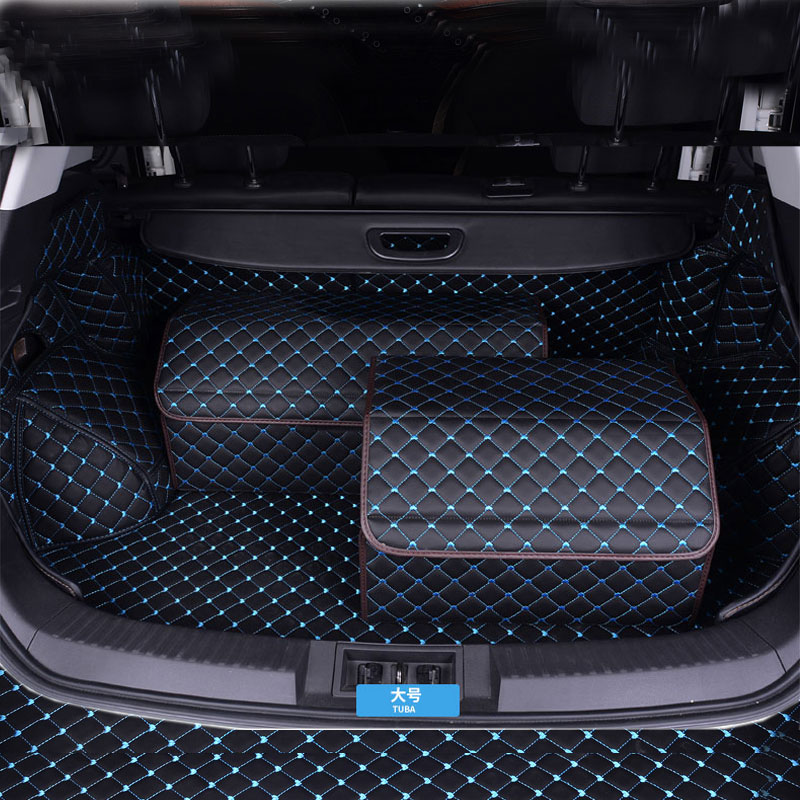 Car Trunk Box Storage Bag Organizer Foldable waterproof PU Leather Auto Durable Collapsible Cargo Storage Stowing