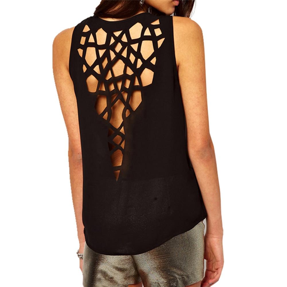 New Womens Top Fashion Back Hollow Shirt Summer O-neck Sleeveless Casual Blusas Femininas Chiffon Blouse Ladies