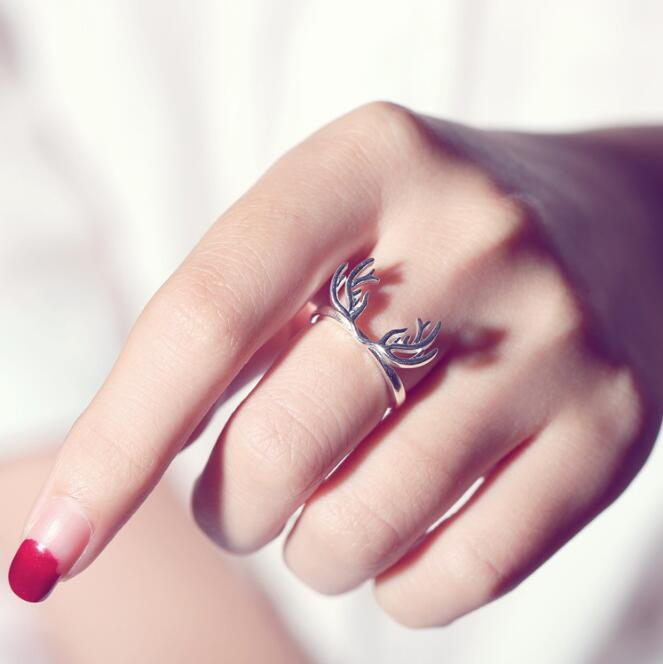 Silver Plated Animal Antler Ring 1