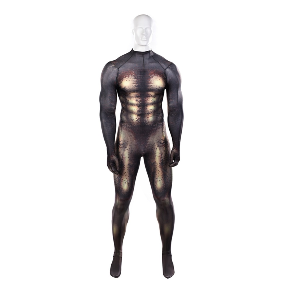 Predator Cosplay Costume With 3D Print Predator Basic Suit Halloween Kids Adults Zentai Bodysuit Suit Jumpsuits Free Shipping