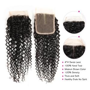 Image 4 - ALI GRACE brezilyalı Kinky kıvırcık saç kapatma ile 3 demetleri ile 4*4 dantel kapatma ücretsiz orta kısmı 100% remy saç kapatma