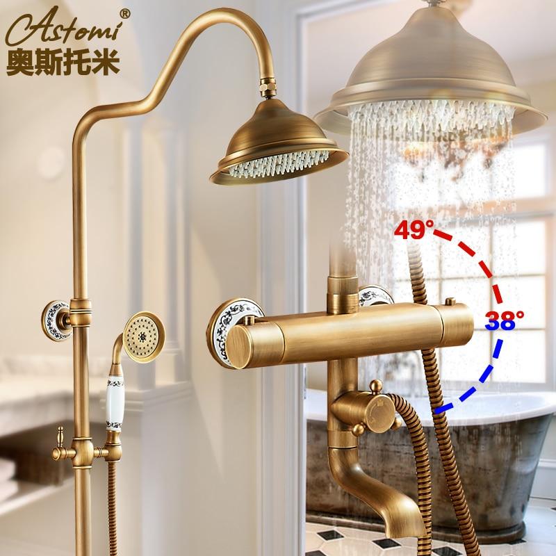 Античная латунь душ Для ванной кран Наборы для ухода за кожей постоянной Температура смеситель Клапан настенный подвергается 8 тропически...