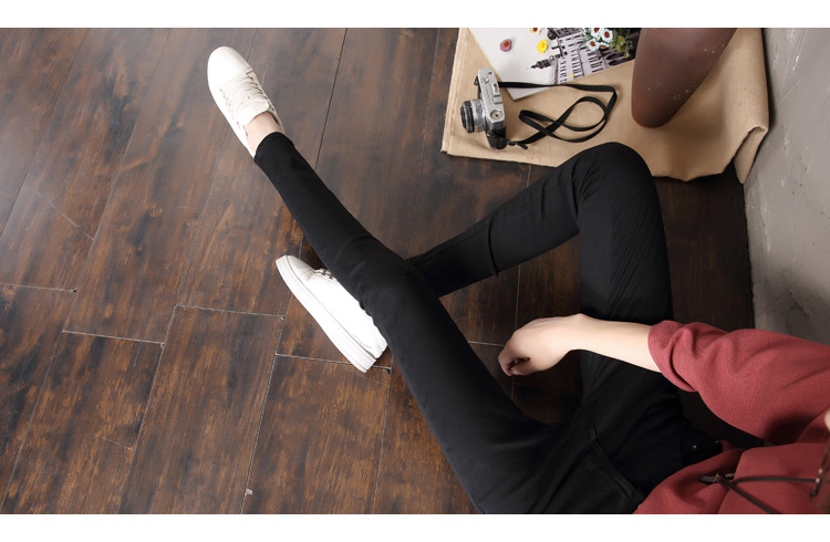 LYJMTDBK Women's white trousers pencil pants 19 spring and autumn button pocket pants women's high waist elastic feet pants 12