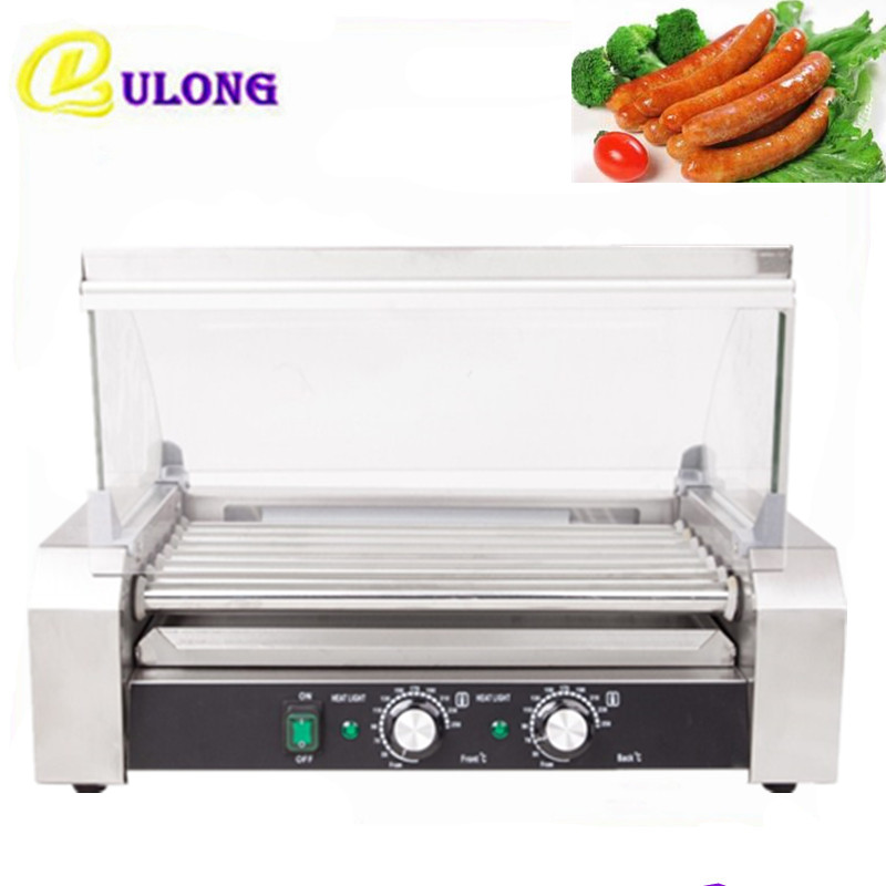 Hot Dogs Grill with  11-roller Automatic Electric Stainless Steel Hot Dog Maker Commercial Household  Sausage  Roasting Machine cukyi household electric multi function cooker 220v stainless steel colorful stew cook steam machine 5 in 1
