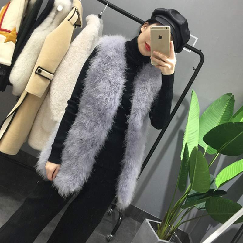 Длинный жилет из натурального меха ручной вязки из натурального страусиного пера, меховой жилет высокого качества из натурального пушистого меха, жилет темно-серого цвета - Цвет: 5 Light grey